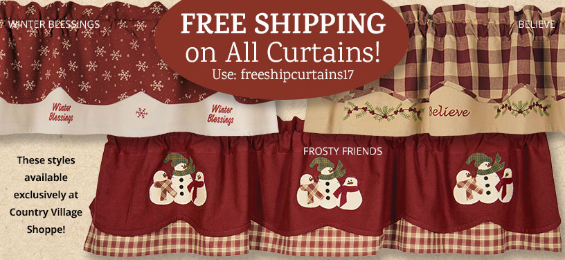 image of exclusive country village designs valances and free shipping code: freeshipcurtains17