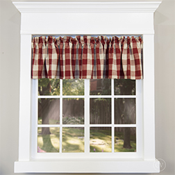 Wicklow Garnet large checked valance in white window